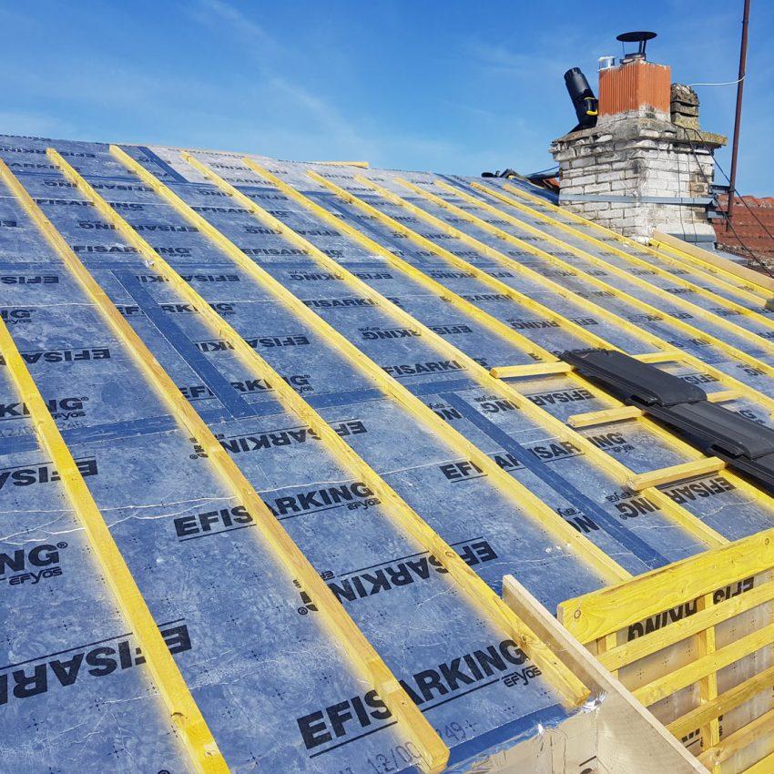isolation par l'extérieur en sarking d'une toiture complète